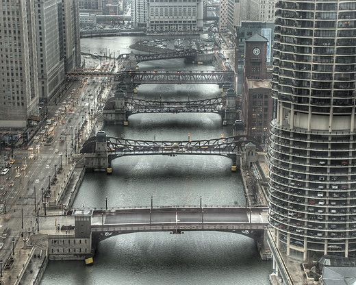 Chicago's Moving Bridges over the Chicago River, Chicago, Illinois, USA