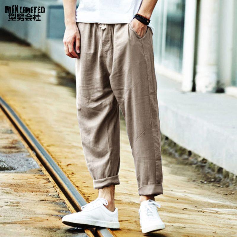 Encontrar Mas Pantalones Cruzados Informacion Acerca De Hombres Pantalones De Lino Sueltos Pa Pantalones De Lino Hombre Pantalones De Lino Pantalones De Hombre