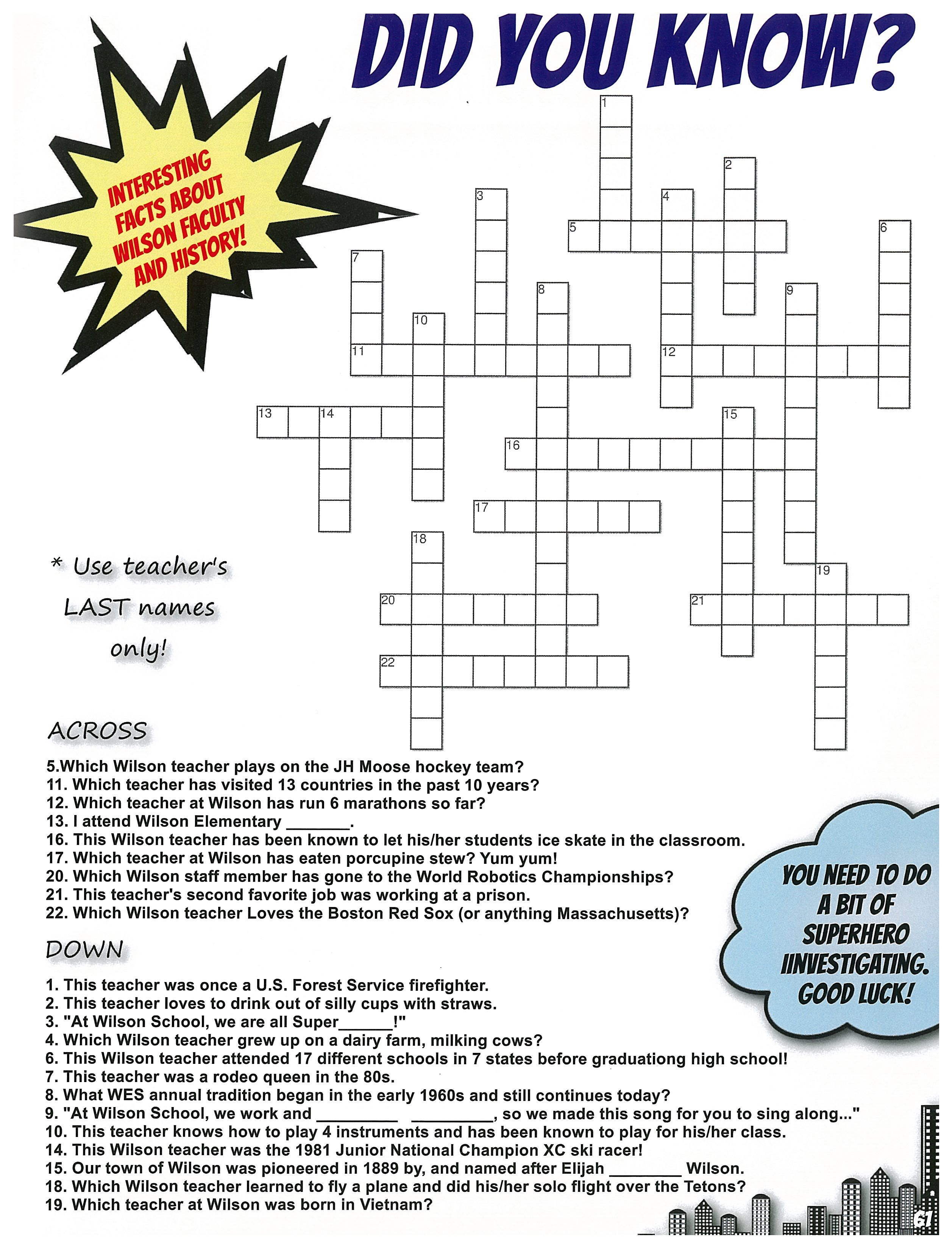A Fun Crossword Puzzle Is A Great Idea For Your Yearbook