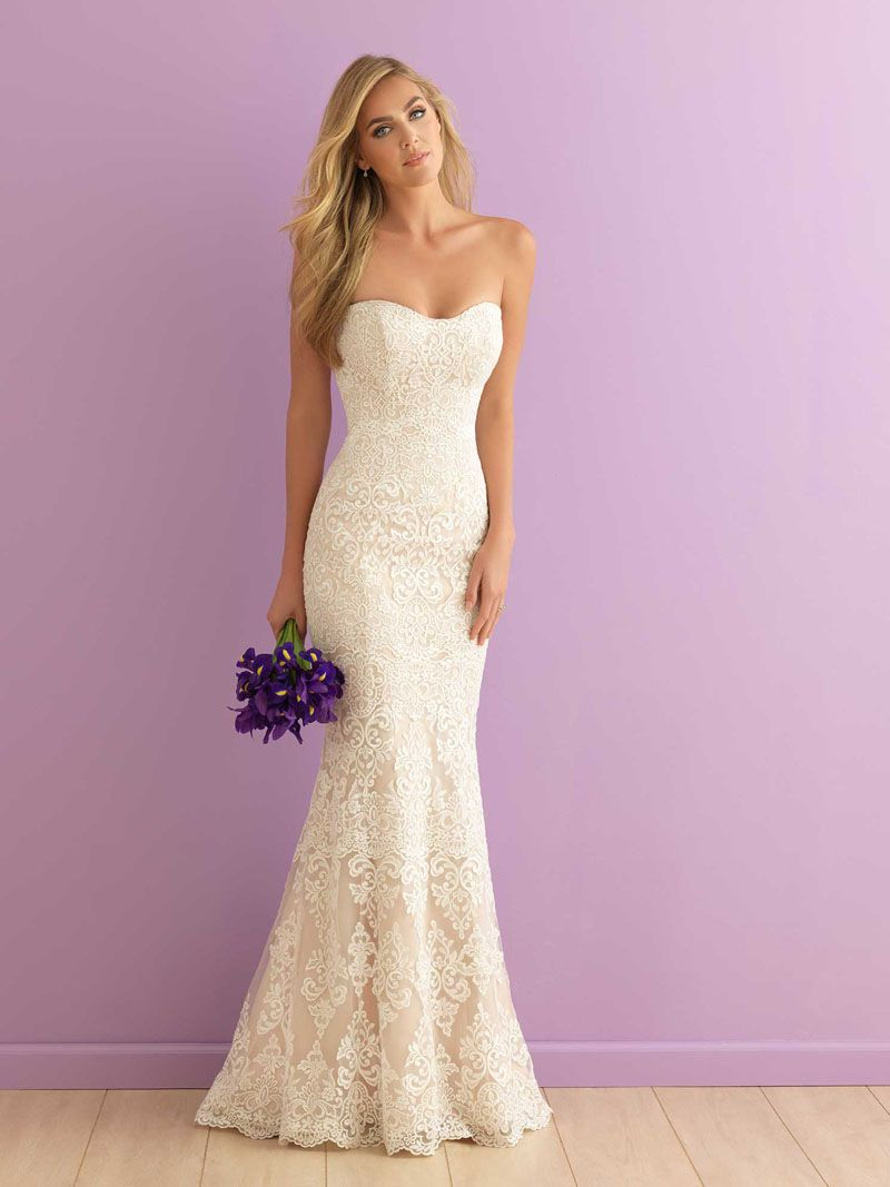 Mermaid strapless sweetheart floor length subtle lace for Best lace wedding dresses