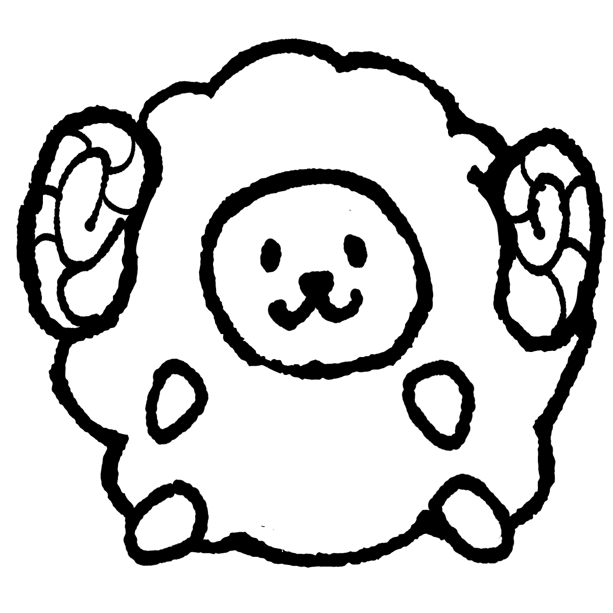 座る羊 転がりそうだけど動じないヒツジです Illust Cute Art Illustration Monochrome イラスト 手描きイラスト ゆるい かわいい 素材 羊 イラスト イラスト 羊