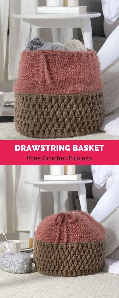 Drawstring Basket [ FREE CROCHET PATTERN   Crochet Projects ...