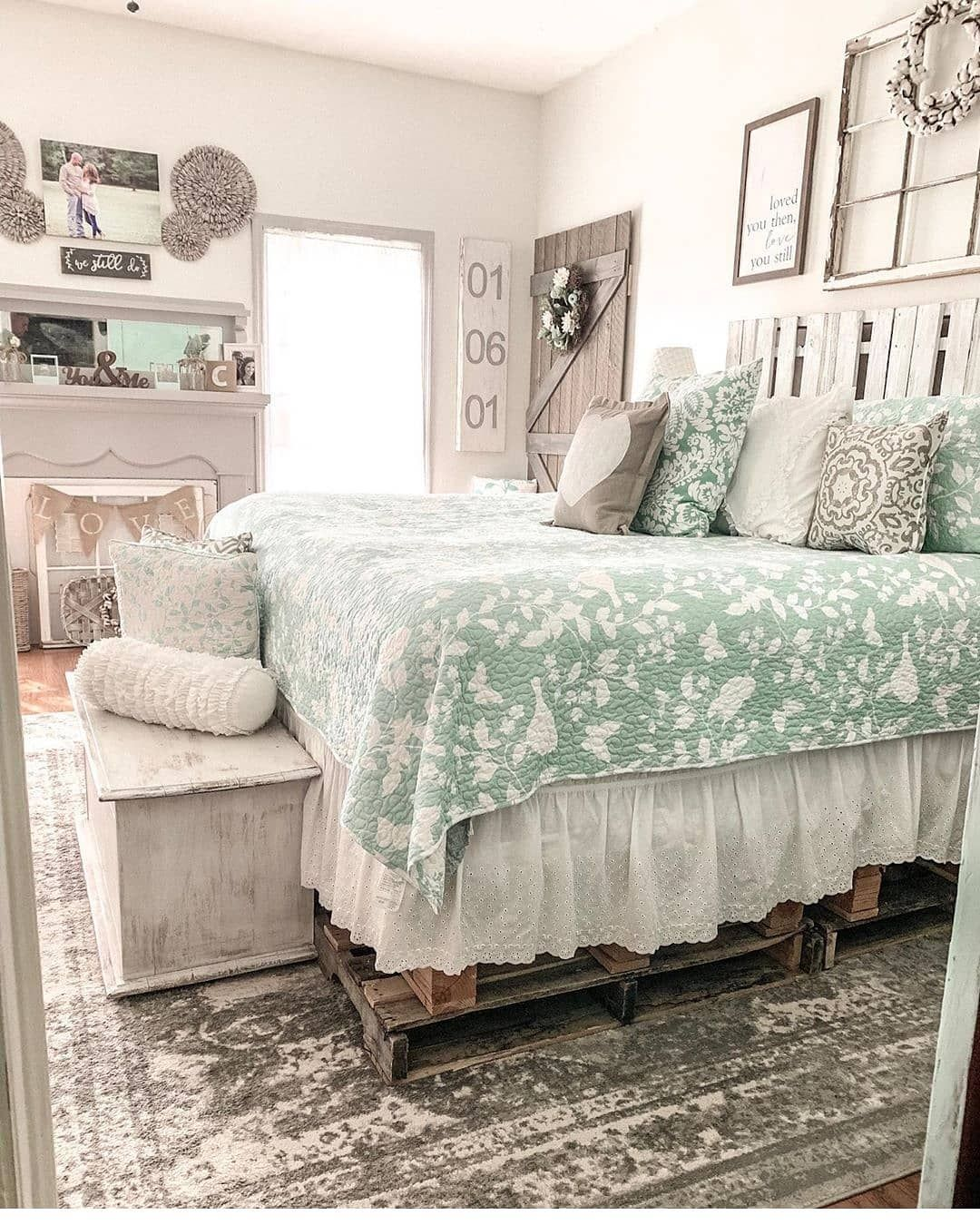 """Farmhouse Only on Instagram: """"Love this bedroom! The green ..."""