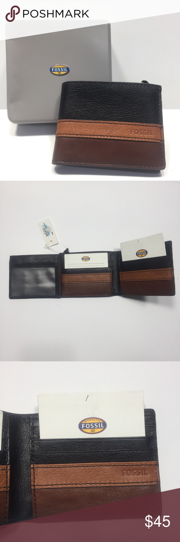 Fossil Warren Traveler Black Multi Trifold Wallet Nwt Trifold Wallet Fossil Wallet