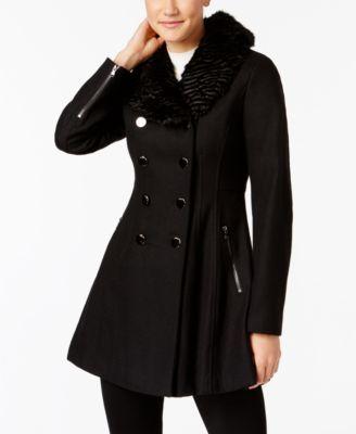 8726077a3d401 GUESS Faux-Fur-Trim Skirted Peacoat