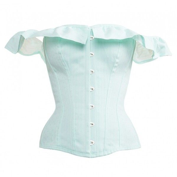 bcc6658b9467 Beautiful Victoriana Mint Corset with Off Shoulder Elasticated Ruffle ❤  liked on Polyvore featuring tops