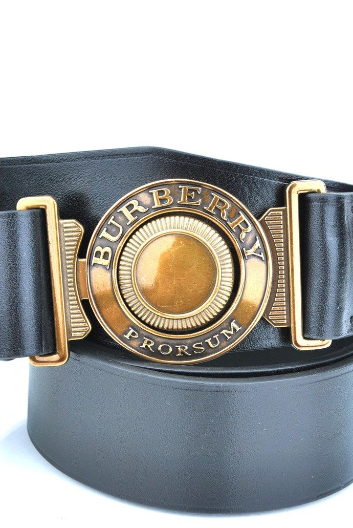 Burberry Prorsum Military Buckle Calf Skin Leather Belt