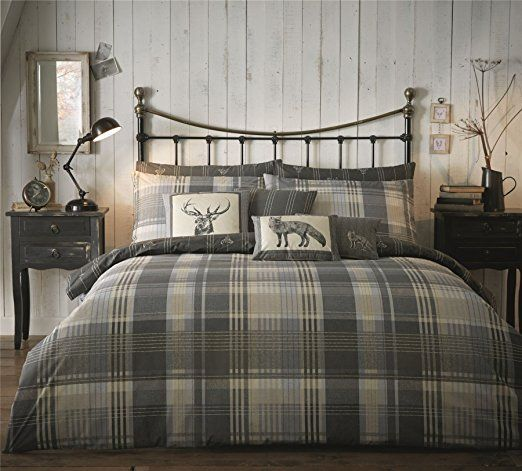 100 Brushed Cotton Check Grey Beige Cream Stag Canadian Queen Size 230cm X 220cm Uk King Size Duvet Comfort Duvet Cover Sets Duvet Sets Cotton Duvet Cover