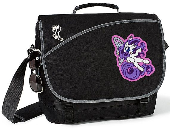 Rarity with her wings My Little Pony hand decorated messenger bag! I make the decals of my own artwork and apply myself. ^_^ Artwork by Crizl