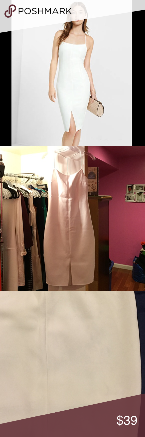 Express Front Split Dress White dress with halter t-strap. Zips on side. Lines. Very light marks from washing (picture #3). Worn once for bridal event. Express Dresses Midi
