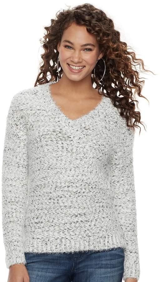 3f1dc7213a5259 JLO by Jennifer Lopez Women s Marled Boucle V-Neck Sweater ...