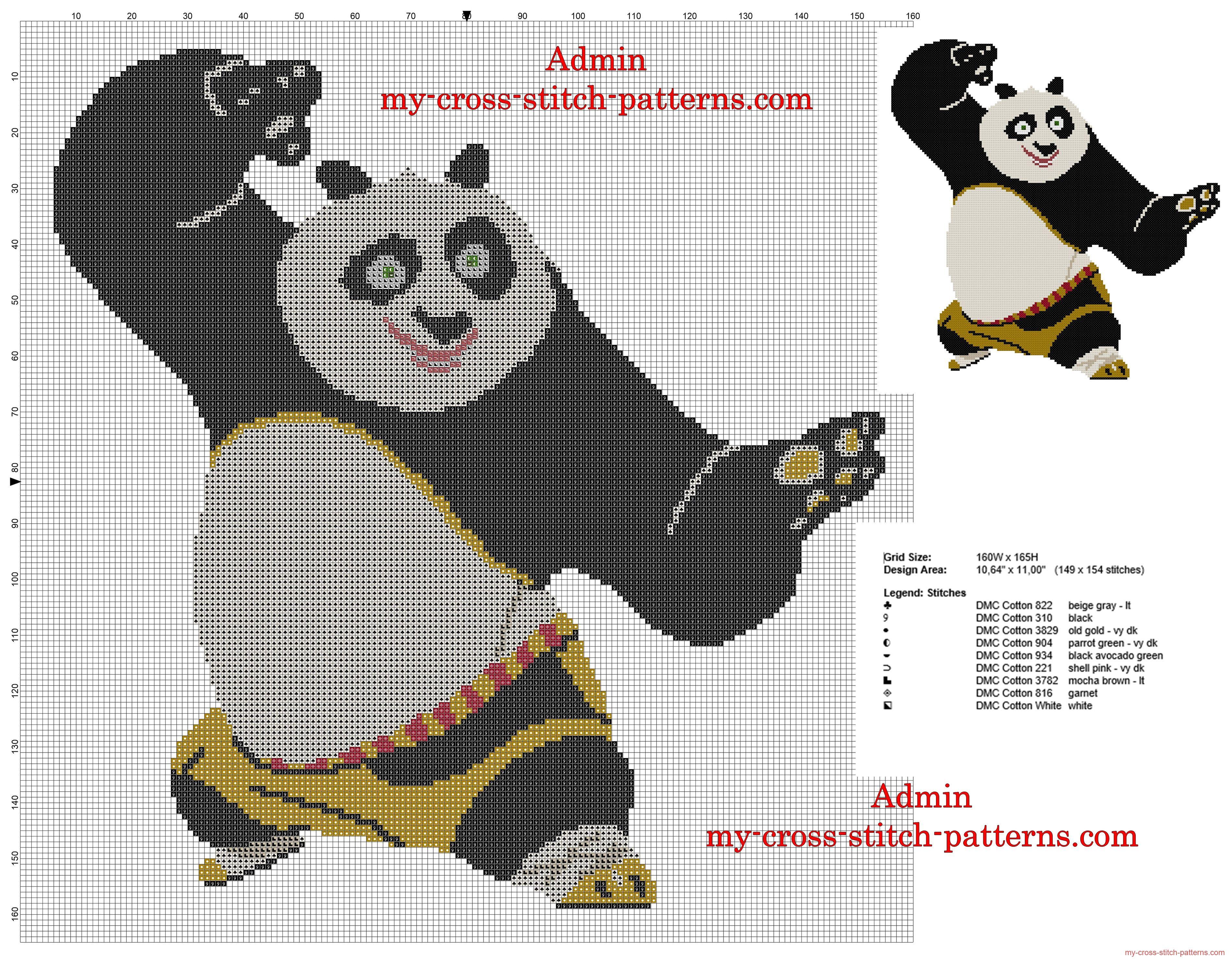 Kung Fu Panda patron punto de cruz 150 puntos | Hama