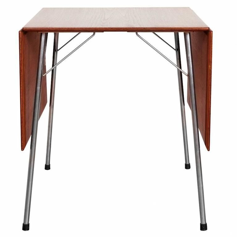 Arne Jacobsen Drop-Leaf Table, Model 3601 (1952) >> DIMENSIONS 27.17 in.Hx55.12 in.Wx27.56 in.D 69 cmHx140 cmWx70 cmD