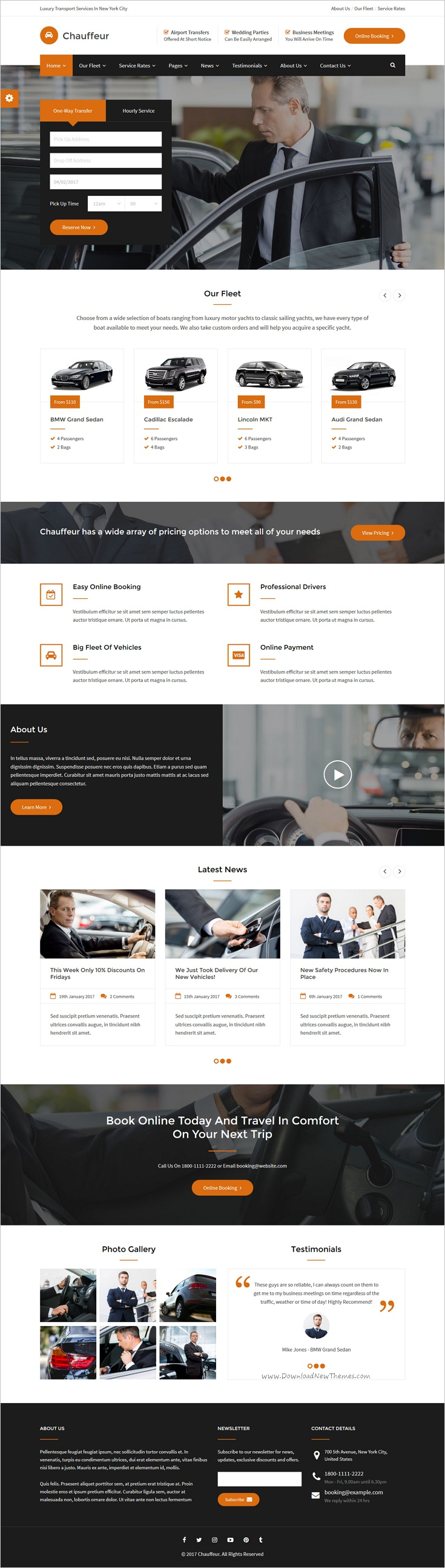 Chauffeur limousine transport and car hire html template