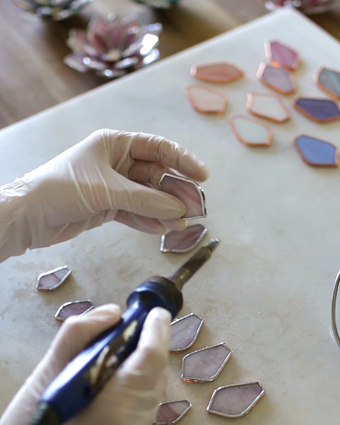 Stained Glass Succulent Ring Dishes | Color: Purpl