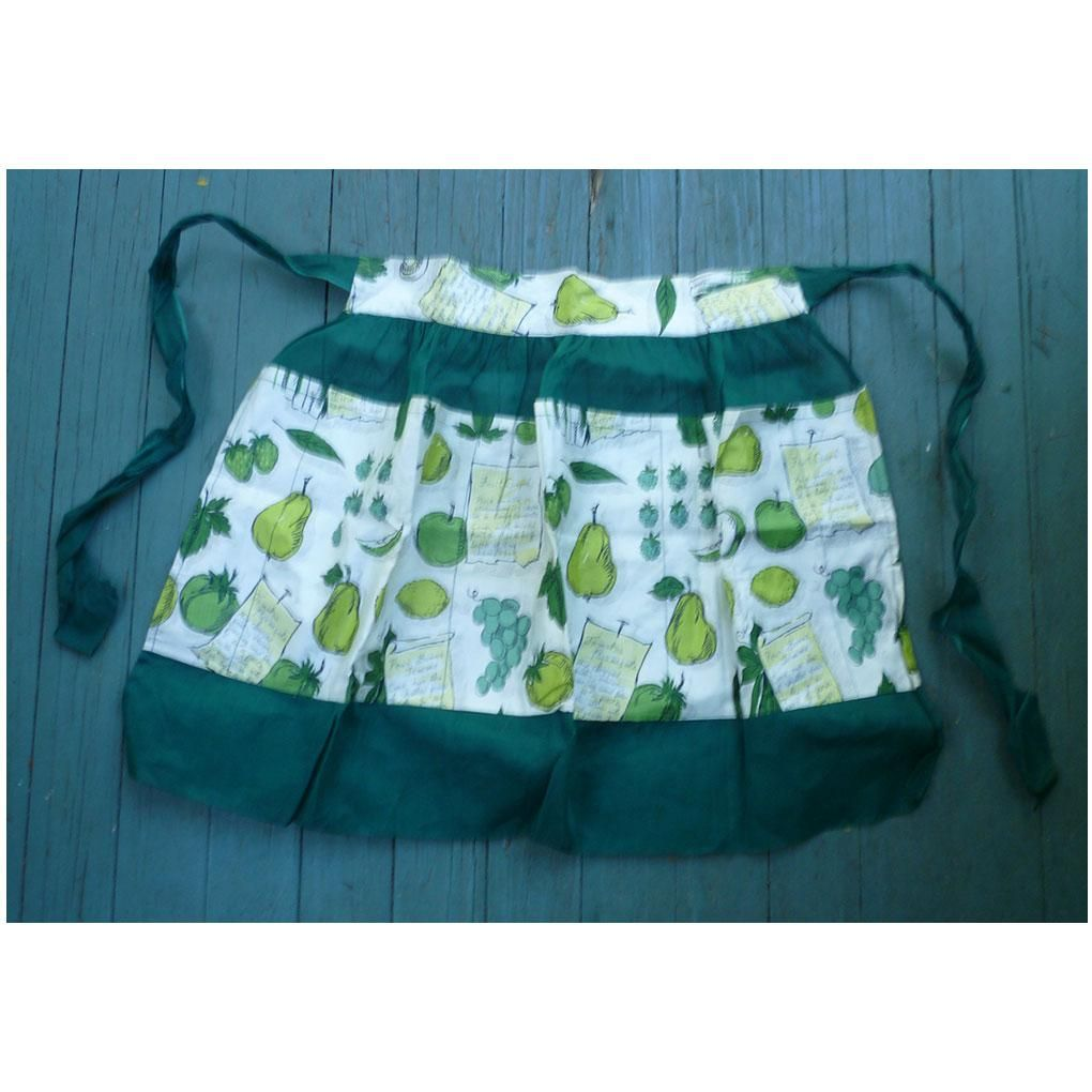 Fruit and Vegetables Recipes Print and Sheer Green Fancy Apron ...