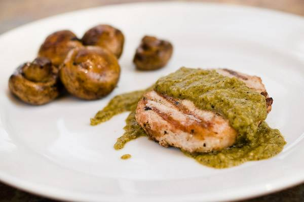 Tomatillo and Poblano Pepper Sauce Over Grilled Pork Chops | Grilling Companion #grilledporkchops