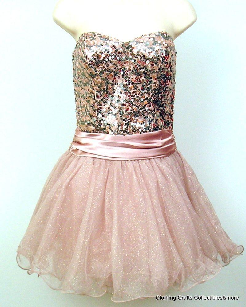 Juniors pink strapless short prom dress sz tulle sequins