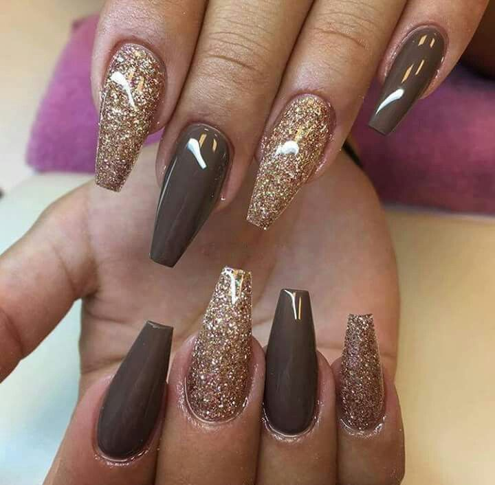Nail ideas and inspiration - brown and gold nails, perfect for ...
