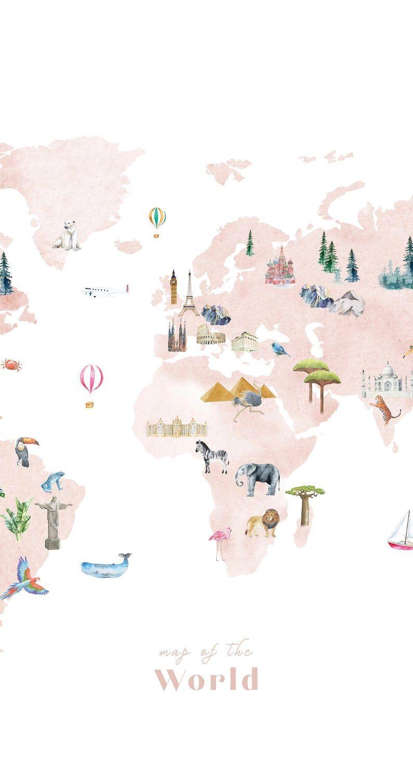 Large Wallpaper World Map   Wall Decal, nursery decor, nursery art, world map, kids world map, travel map, poster map, wall decal, world map