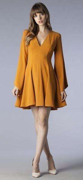 Marigold Wide Sleeve Flare Dress #bell-sleeve-dress #fall-dresses #flare-dress