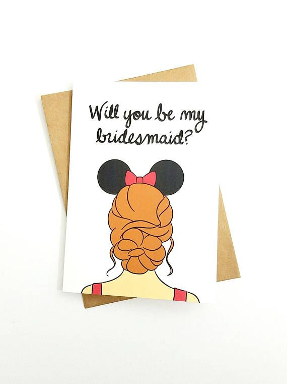 Disney Bridal Party Proposal Card Blank 5x7 Greeting Card Minnie - party proposal