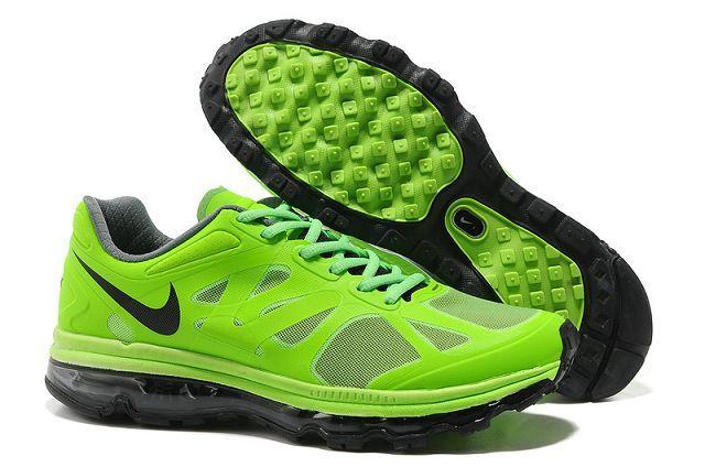 Nike Air Max 2012 Zapatillas Hombres Zapatillas de Running Verdes Negras http://www.esnikerun.com/
