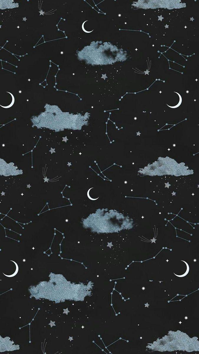 Härligt mönster på stjärnhimlen. Månen, stjärnor, moln, allt finns med. #stjärnhimmel #mönster #pattern #darkiphonewallpaper