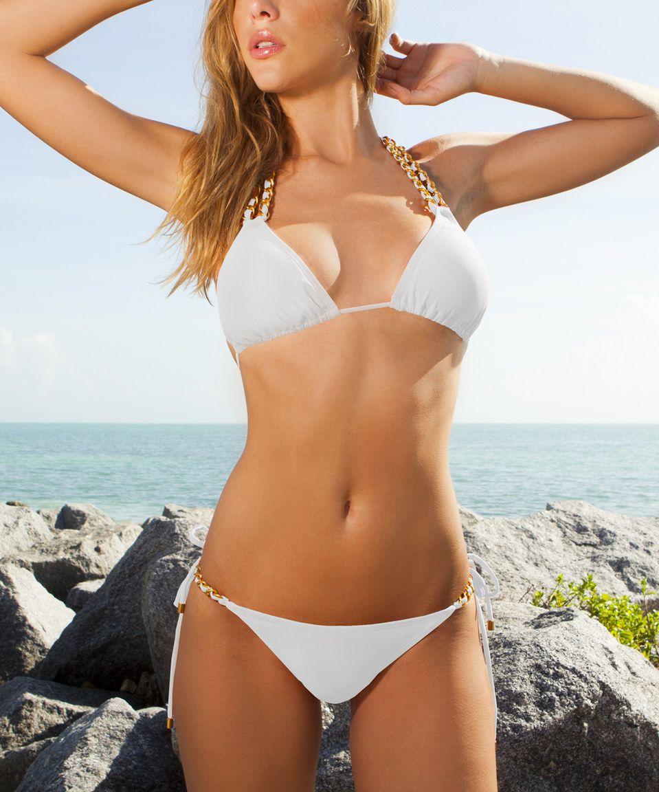 Another great find on #zulily! Plunge White Chain Link Triangle Bikini by Plunge #zulilyfinds