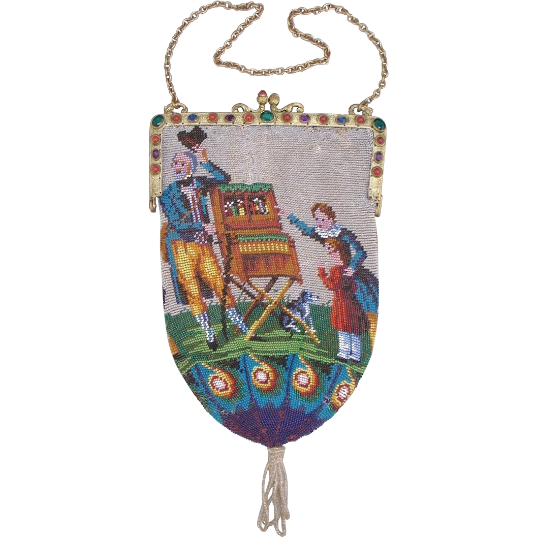 "Scenic / Figural Beaded Purse, jeweled frame, ""organ grinder"" scene with two children and dog, very old"