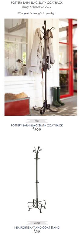 Copy Cat Chic Find Pottery Barn Blacksmith Coat Rack Vs