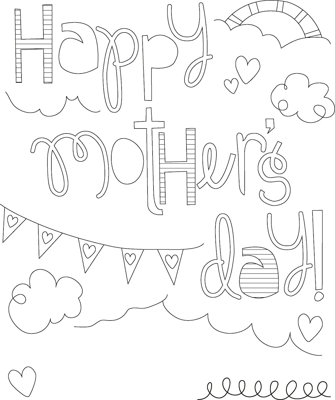 Here is a collection of some Mothers Day coloring pages which