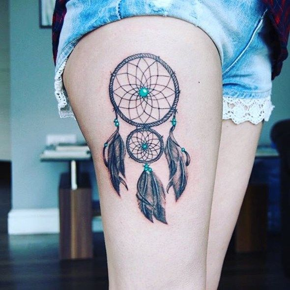 Dream Catcher Tattoo On Thigh Amazing 30 Stunningly Dreamcatcher Tattoo On Thigh  Pinterest 2018