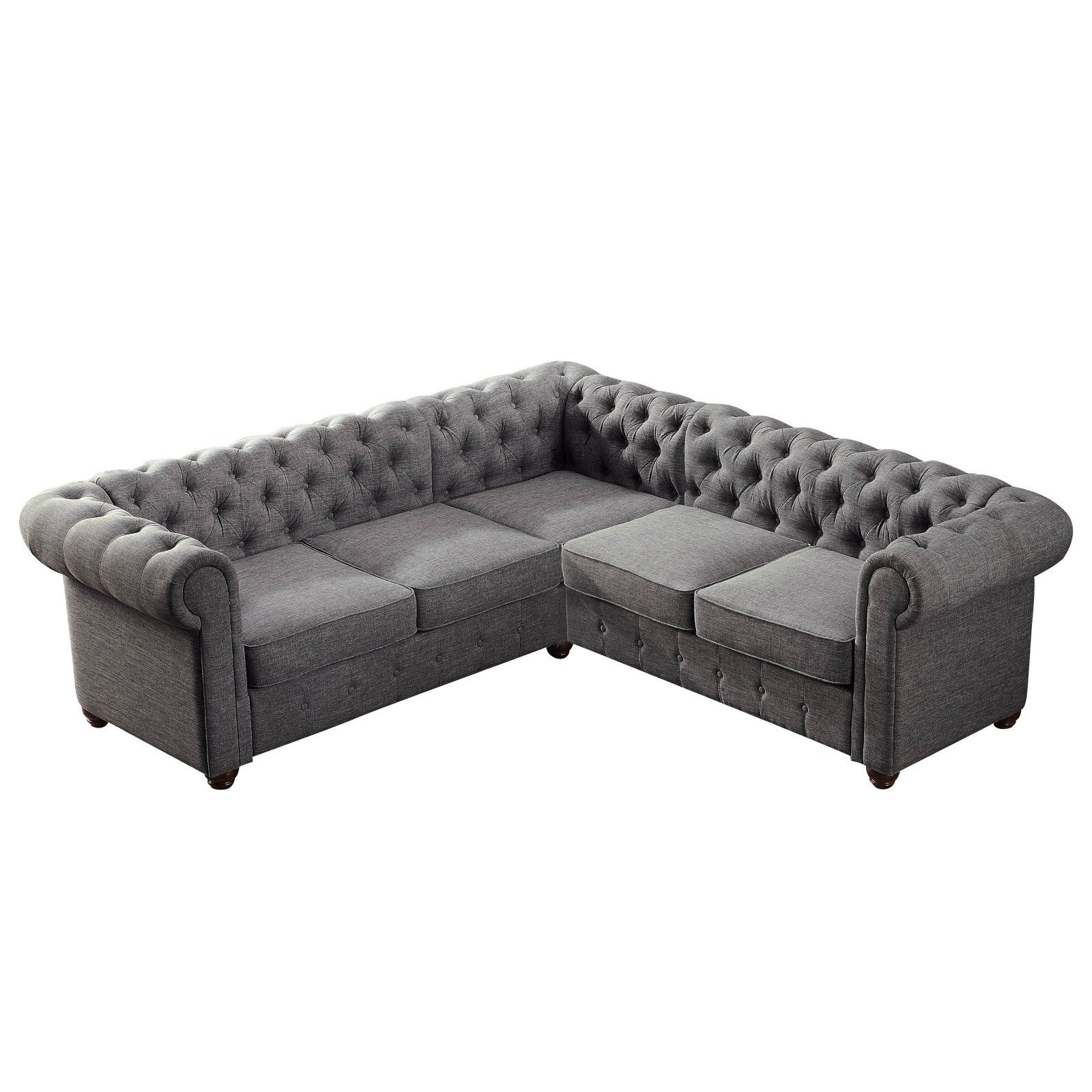 Rosevera Quitaque L-Shaped Tufted Sectional Sofa Gray ...