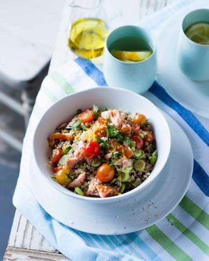Quinoa & Lentil Salad With Hot Smoked Salmon