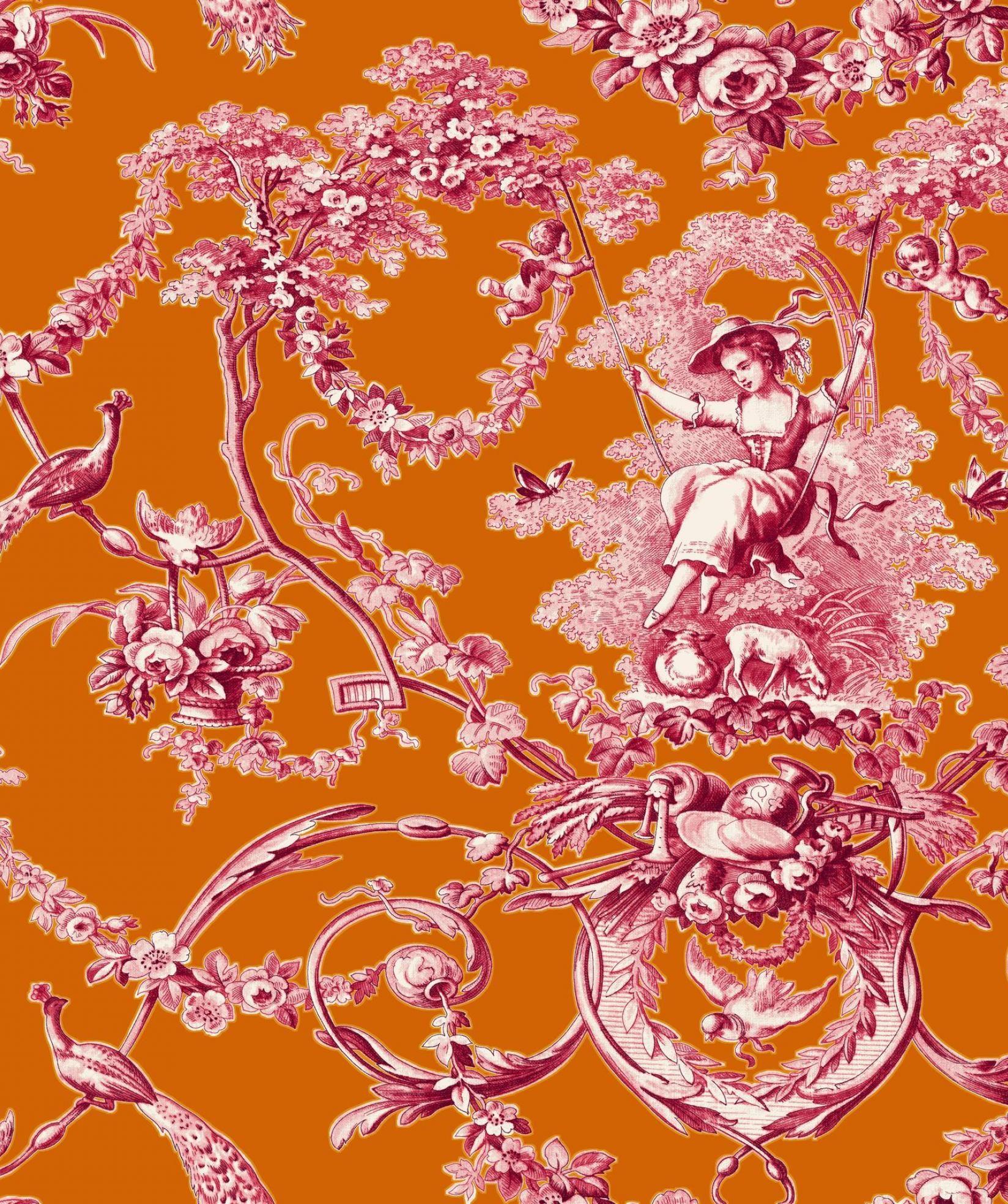 Ludivine Rose Fond Orange Thevenon 1908 Toile De Jouy Toile Peinture Murale