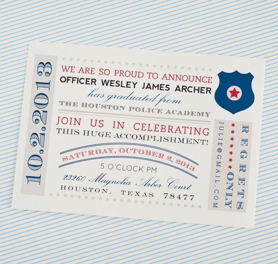 Police Academy Graduation - Printable Customized Invitation Some of - best of invitation wording graduation