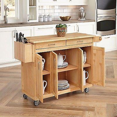 Kitchen Island Cart Wood Storage Cabinet Rolling Breakfast Bar ...