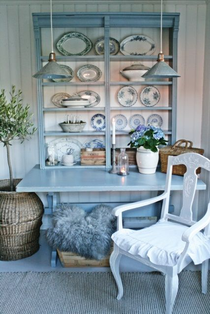 Bluebird Cottage...Idea for my Bookcase!  But I would do it in a warm light green!