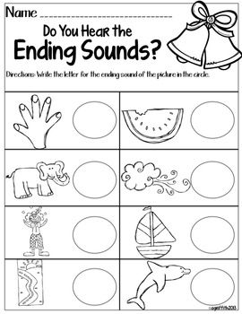 Ending Sounds Freebie  Classroom    Kindergarten