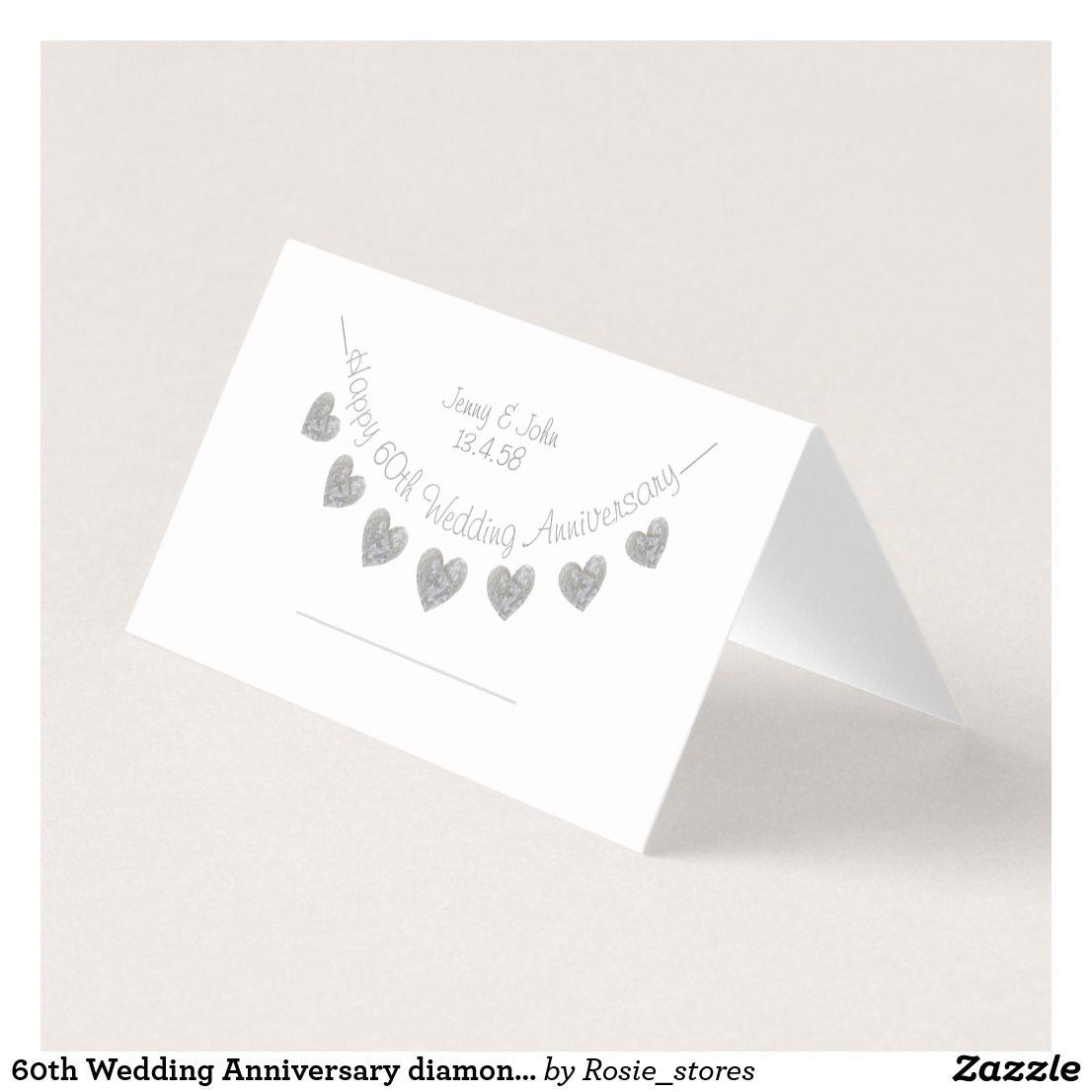 60th wedding anniversary diamond place card  zazzlecouk