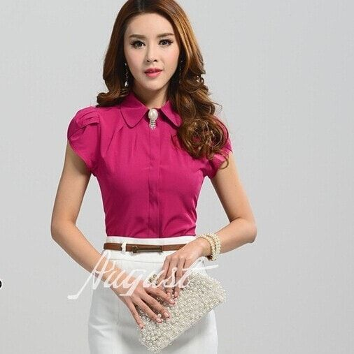 b55463d0c3c82e New Ladies Office Shirts 2016 Work Wear Tops Butterfly Short Sleeve White  Rose Blouse Chemise Femme