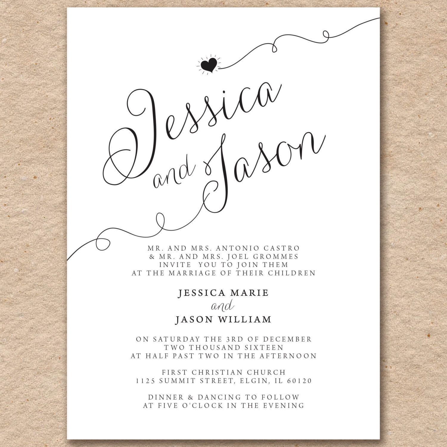 Simple Black And White Wedding Invitation Set Sweetheart Design