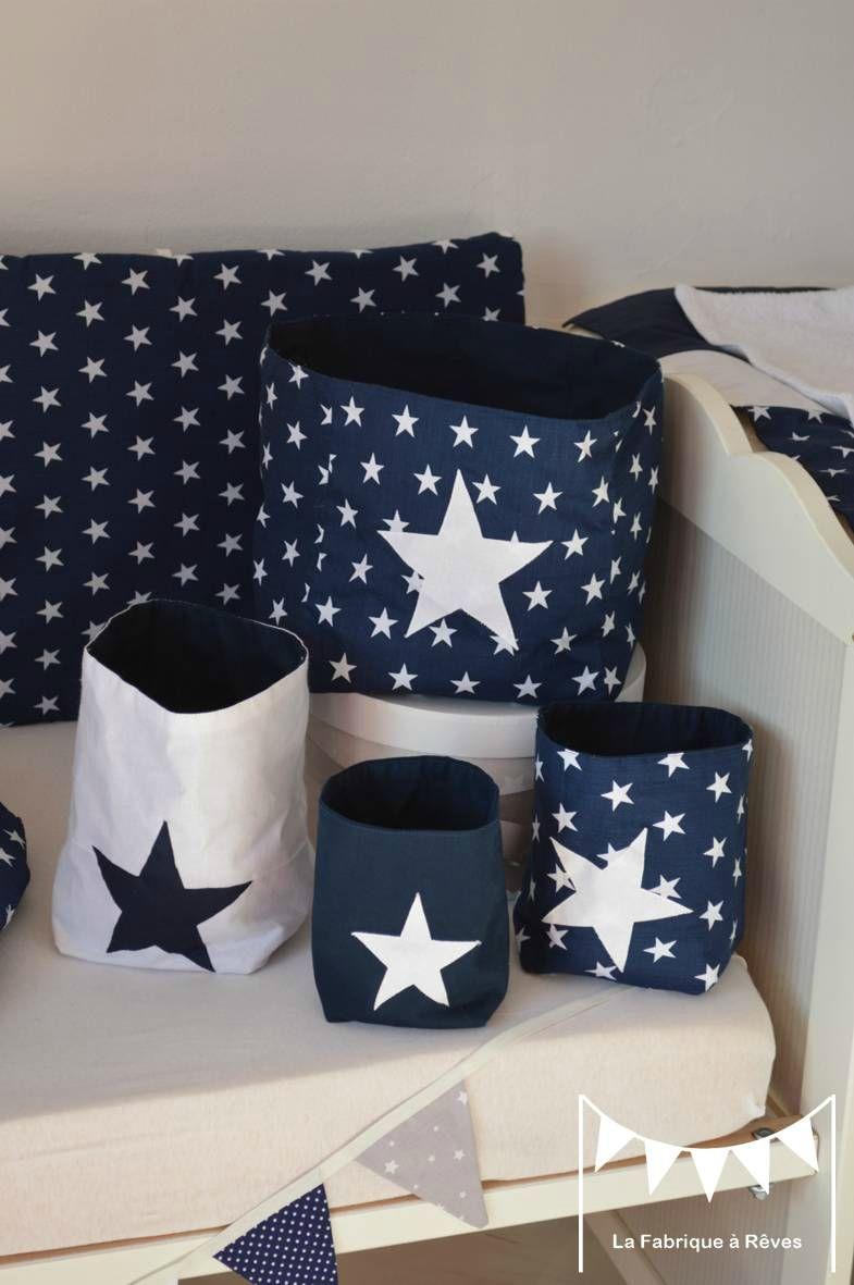 pochons rangement réversibles bleu marine blanc étoiles - décoration ...
