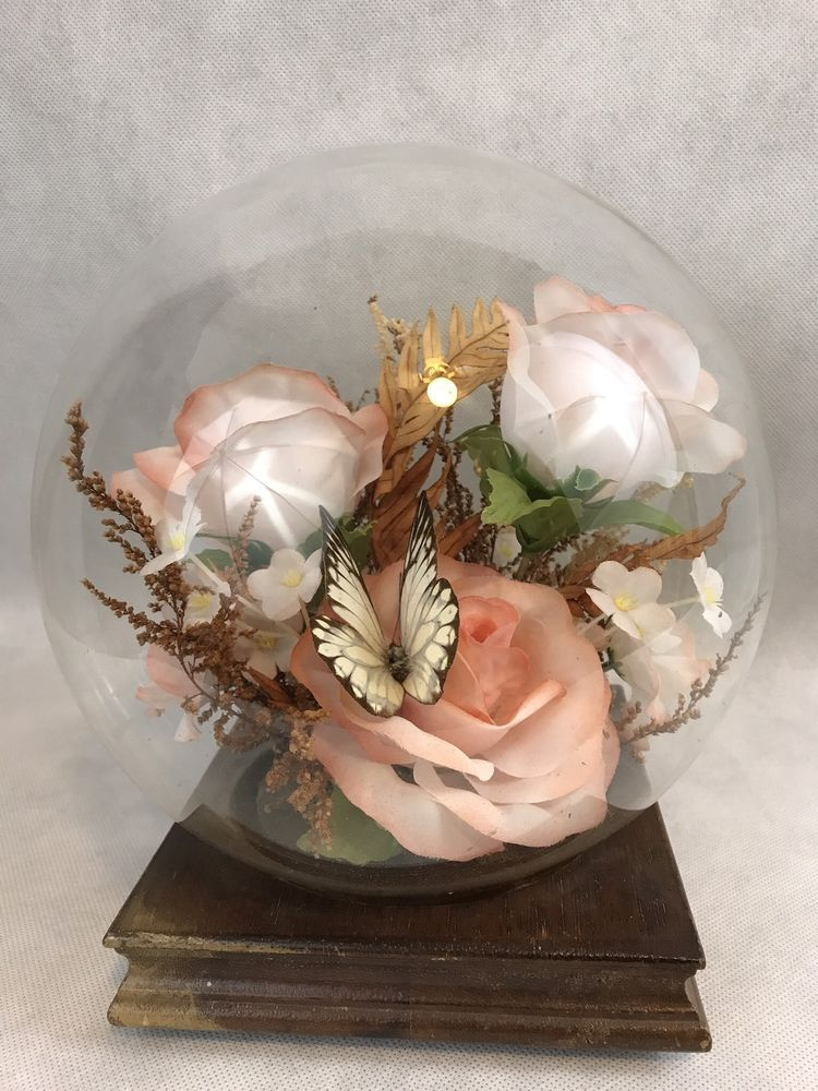 Vintage Pink Silk Flowers Butterfly Glass Dome Globe Display Wooden ...