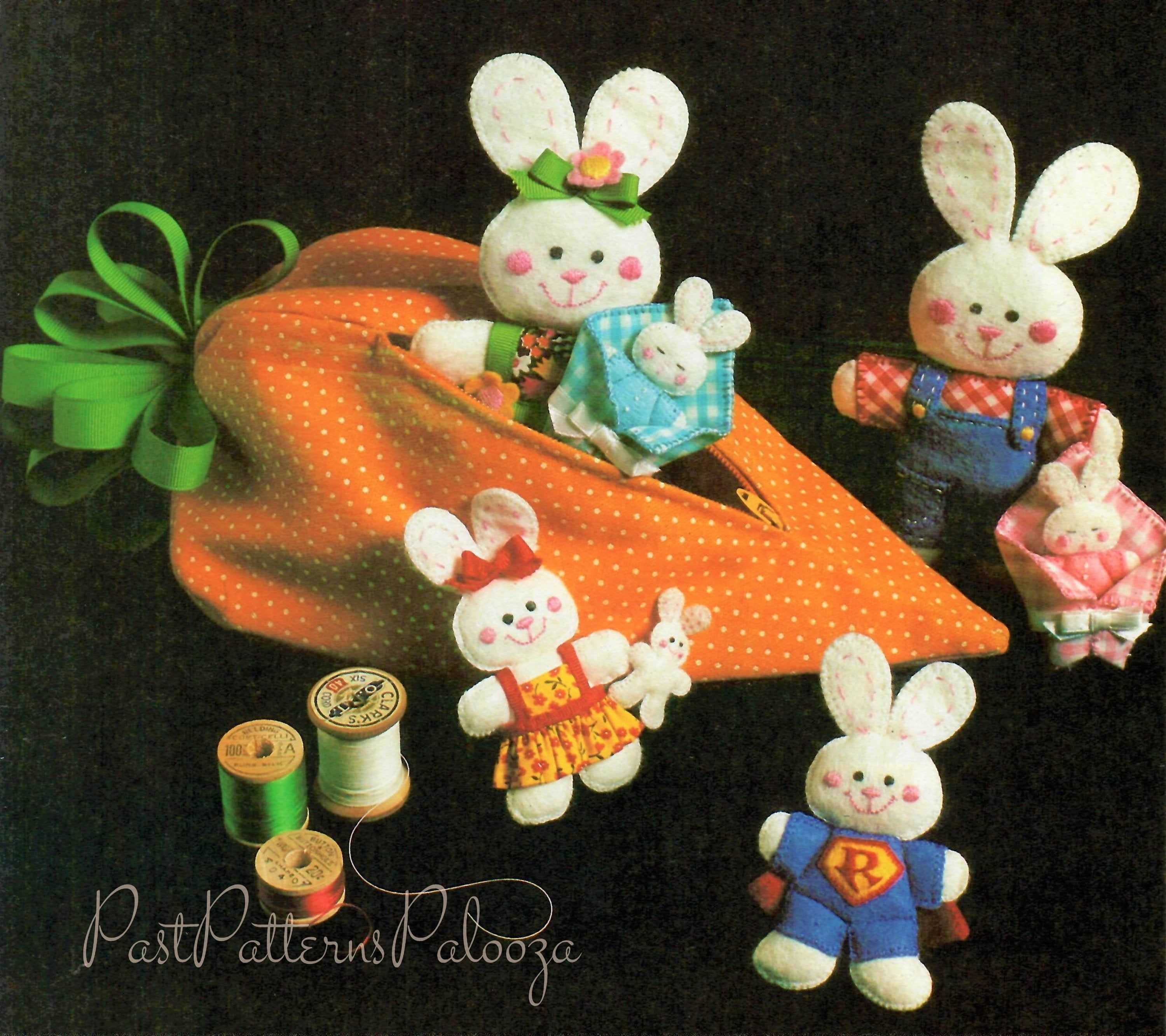 Stuffed Bunny holding a Carrot ~ Vintage Pattern Stuffed Animal Toy