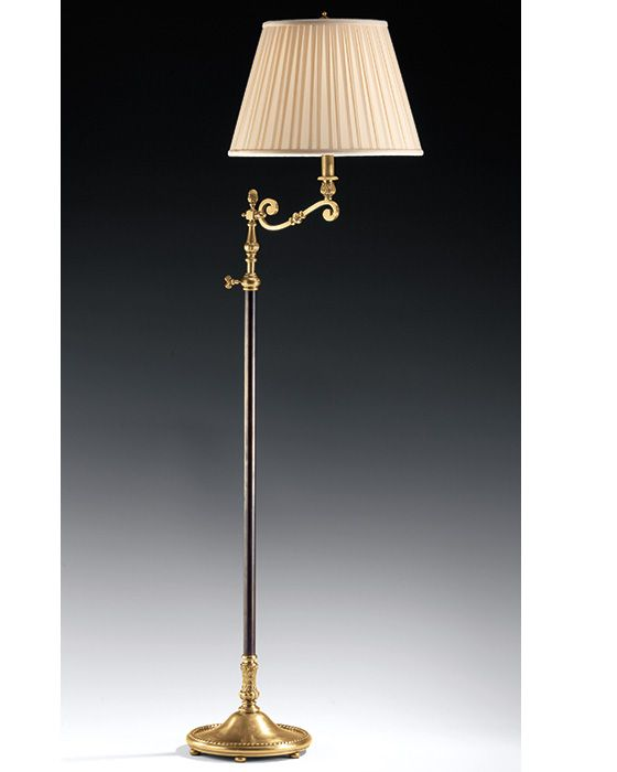 Antique Brass Floor Lamp With Pleated Fabric Shade