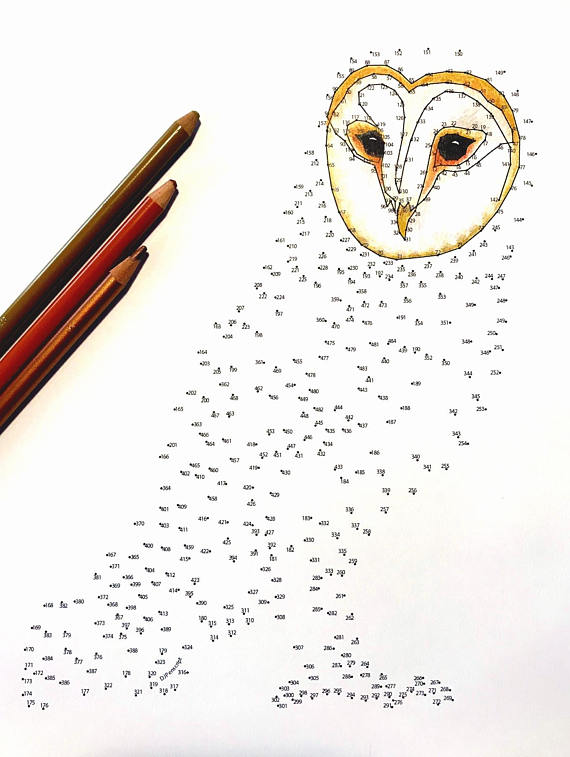 Barn Owl Extreme Dot To Dot Pdf Activity And Coloring Page