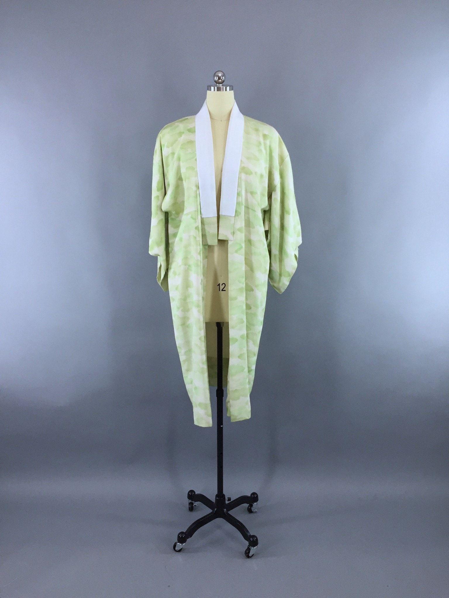 Vintage Silk Kimono Robe / Vintage Dressing Gown / Vintage Lingerie Robe / Loungewear / 1950s White Black & Red Stripes axHBX98RC