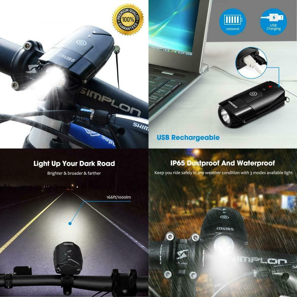 2000mAh//1000 Lume... shenkey Bike Lights USB Rechargeable LED Bicycle Headlight
